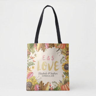 Autumn Fall Maple Leaves Pumpkin Wedding Welcome Tote Bag