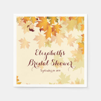 Autumn Fall Maple Leaves Wedding Bridal Shower Disposable Napkins