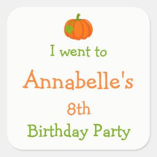 Autumn Fall Pumpkin Birthday 'I went to' Stickers