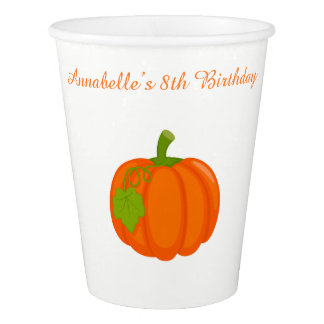 Autumn Fall Pumpkin Birthday Paper Cup