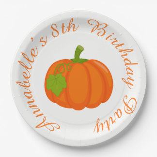 Autumn Fall Pumpkin Birthday Paper Plate
