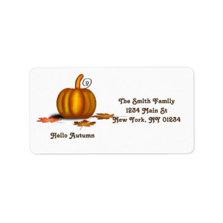 Autumn Fall Pumpkin Leaves Label