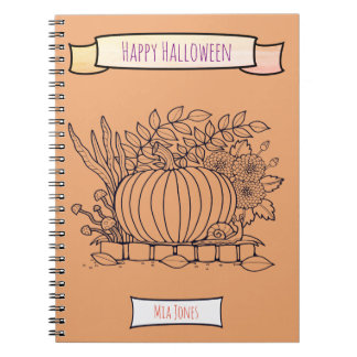 Autumn Fall Pumpkin Snail Floral Spiral Notebook