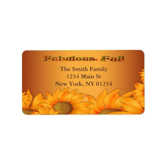 Autumn Fall Sunflowers Label
