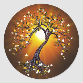 Autumn Fall Tree at Sunset Stickers Rev 2