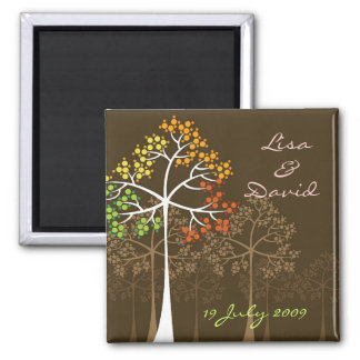Autumn Fall Trees Woodland Wedding Save The Date Magnet