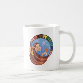 Autumn(fall) type girl with palette coffee mug