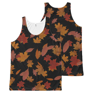 Autumn Falling Leaves on Custom Black All-Over-Print Tank Top