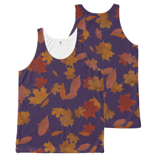 Autumn Falling Leaves on Custom Blue All-Over-Print Tank Top