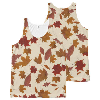 Autumn Falling Leaves on Custom Cream All-Over-Print Tank Top