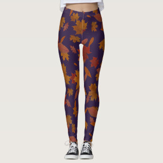 Autumn Falling Leaves on Custom Dark Indigo Leggings