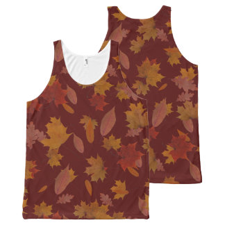 Autumn Falling Leaves on Custom Wine Red All-Over-Print Tank Top