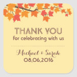 Autumn Falling Maple Leaves Thank You Sticker