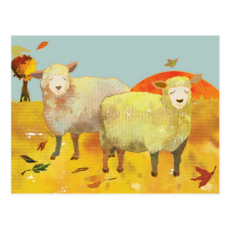 Autumn Field Sheep Postcard