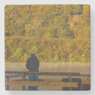 Autumn Fishing Lake Springfield Stone Coaster