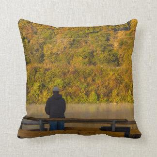 Autumn Fishing Lake Springfield Throw Pillow