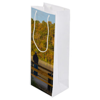 Autumn Fishing Lake Springfield Wine Gift Bag