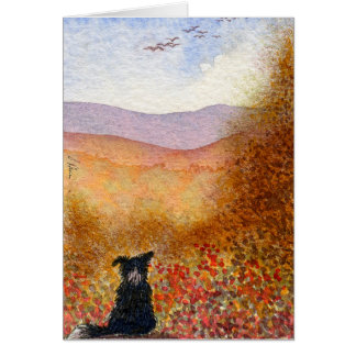 Autumn flight, border collie dog card