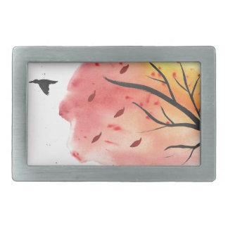 Autumn Flight Rectangular Belt Buckle