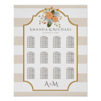 Autumn Floral Bounty Wedding Seating Chart Poster