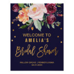 Autumn Floral Bridal Shower Welcome Poster