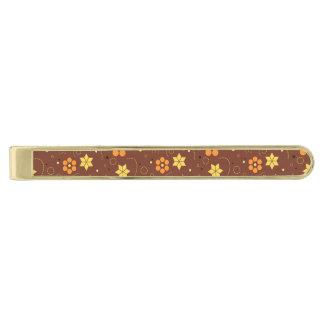 Autumn floral design gold finish tie clip