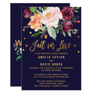 Autumn Floral | Fall In Love Wedding Card