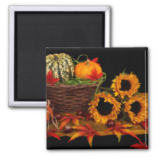 Autumn Floral Pumpkin Basket Magnet
