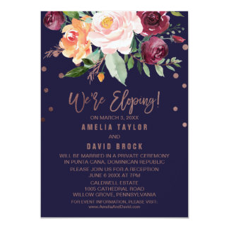 Autumn Floral Rose Gold Elopement Reception Card