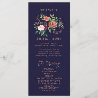 Autumn Floral Rose Gold Wedding Program