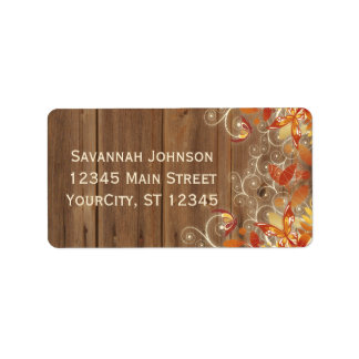 Autumn Floral Rustic Wood Fall Address Labels