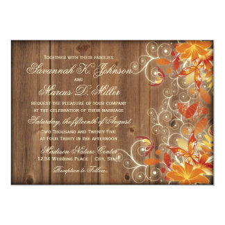 Autumn Floral Rustic Wood Fall Wedding Invitations