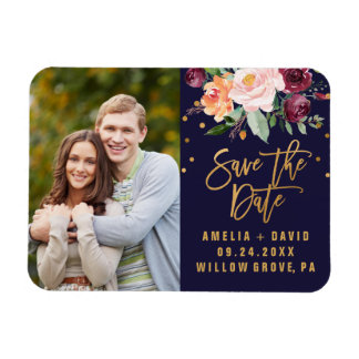 Autumn Floral Save the Date Photo Rectangular Photo Magnet