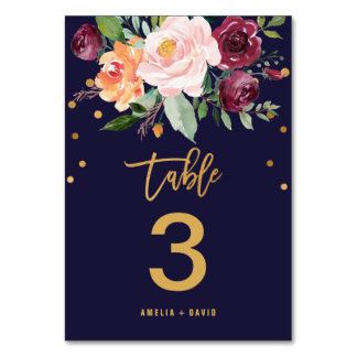 Autumn Floral Table Number