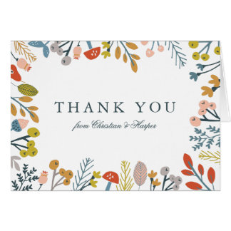 Autumn Floral Thank You Note Card