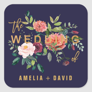 Autumn Floral Wedding Envelope Seals