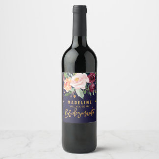 Autumn Floral Will You Be My Bridesmaid Wine Label