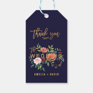 Autumn Floral with Wedding Typography Thank You Gift Tags