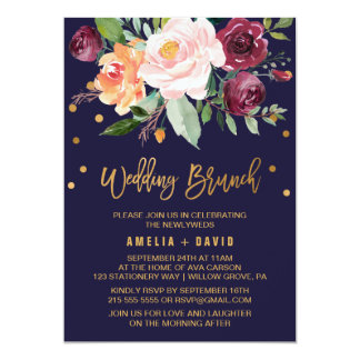 Autumn Floral with Wreath Backing Wedding Brunch Card