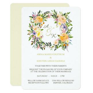 Autumn Floral Wreath Monogram Wedding Invitation