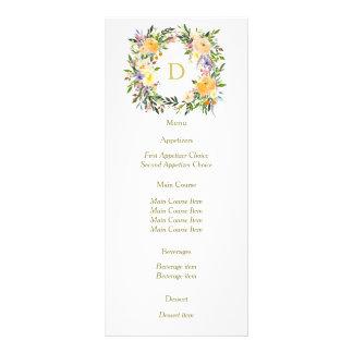 Autumn Floral Wreath Monogram Wedding Menu Rack Card Design