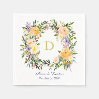 Autumn Floral Wreath Monogram Wedding Paper Napkins