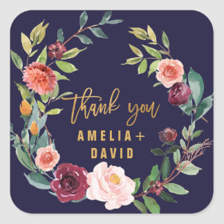 Autumn Floral Wreath Thank You Favor Square Sticker