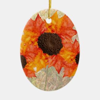 Autumn Flowers Ceramic Oval Ornament