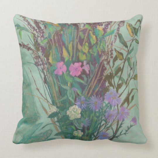 Autumn Flowers, modern floral art, pastel painting Throw Pillow