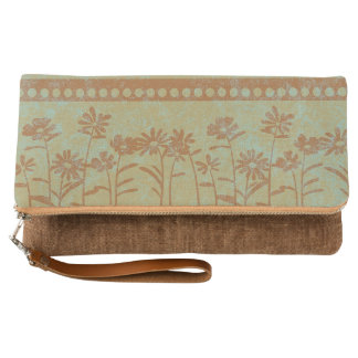 Autumn Flowers on Sage Green Clutch