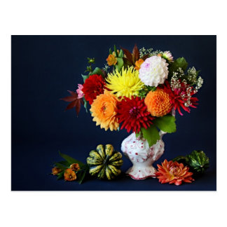 Autumn flowers postcard