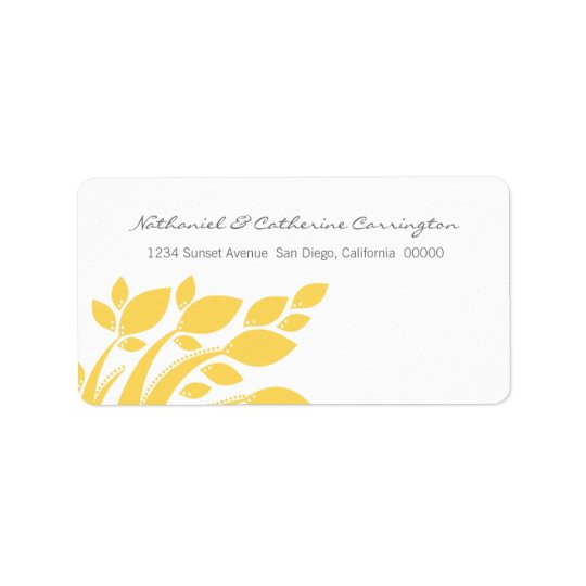 Autumn Foliage Address Labels, Yellow Label