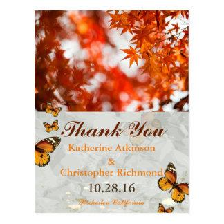 Autumn foliage/butterfly theme postcard