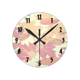 Autumn Foliage in Red Orange Brown Yellow Clock